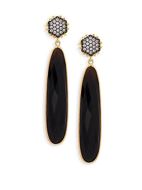 ALANNA BESS | 18K Gold Vermeil, Black Spinel & White Topaz Drop Earrings | Goxip