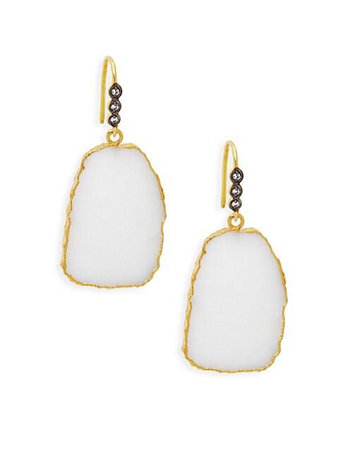ALANNA BESS | 18K Gold Vermeil, White Agate & White Topaz Slab Earrings | Goxip