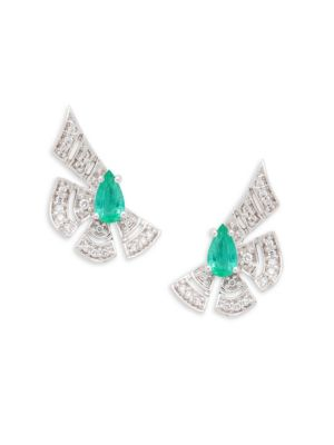 Hueb 18K White Gold , Emerald & Diamond Stud Earrings