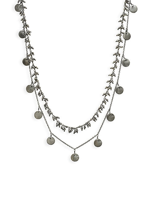 ALANNA BESS | Oxidized Sterling Silver & Pyrite Double-Strand Necklace | Goxip