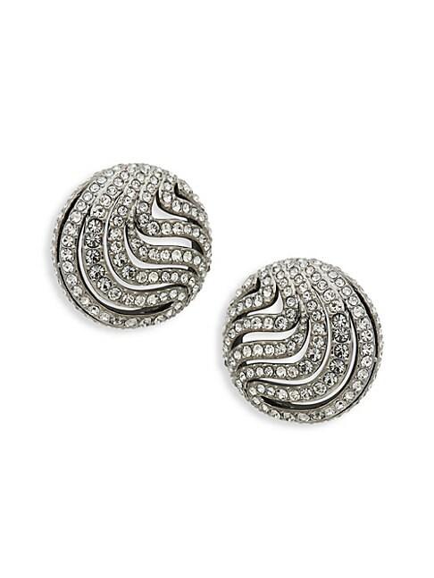 ADRIANA ORSINI   Crystal Wispy Cutout Button Earrings   Goxip