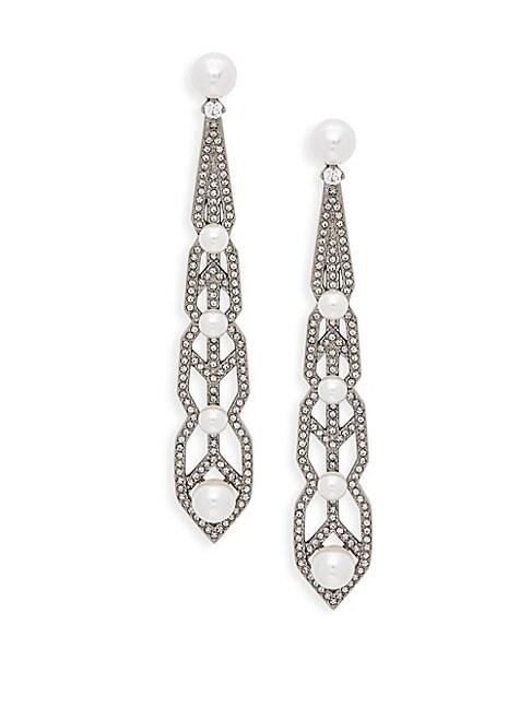 ADRIANA ORSINI   White Faux Pearl & Crystal Drop Earrings   Goxip