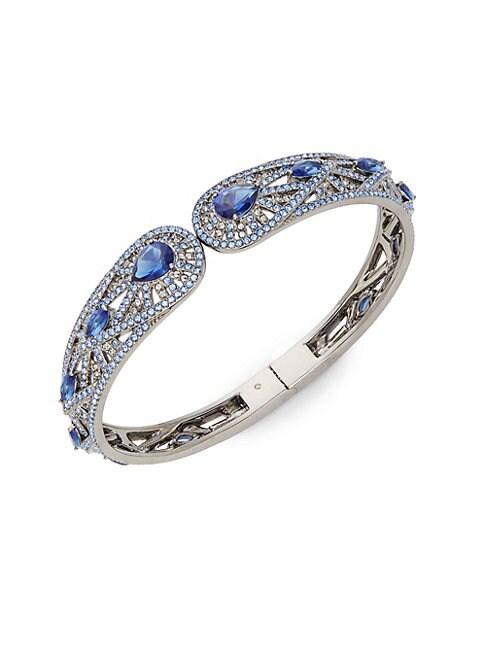 ADRIANA ORSINI   Phoenix Blue & White Crystal Hinge Cuff Bracelet   Goxip