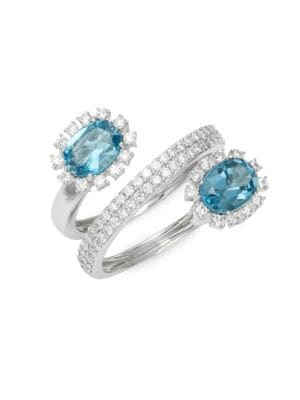 Hueb 18K White Gold, Blue Topaz & Diamond Ring