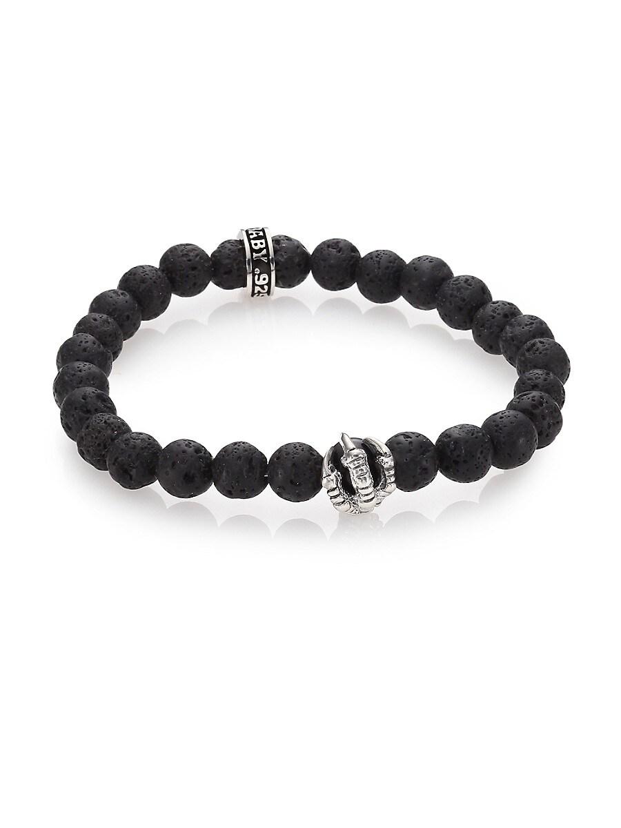 Men's Lava Rock & Onyx Beaded Bracelet