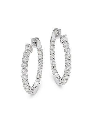 14 K White Gold Diamond Hinged Hoop Earrings by Saks Fifth Avenue
