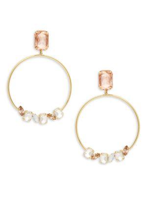 JARDIN Crystal Hoop Drop Earrings in Gold