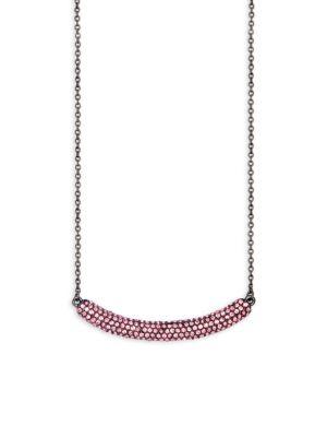 JARDIN Embellished Curved Bar Pendant Necklace in Pink Black