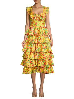 Caroline Constas Ruffled Floral Midi Dress