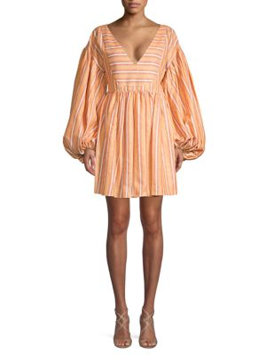 Caroline Constas Striped Linen & Cotton Dress
