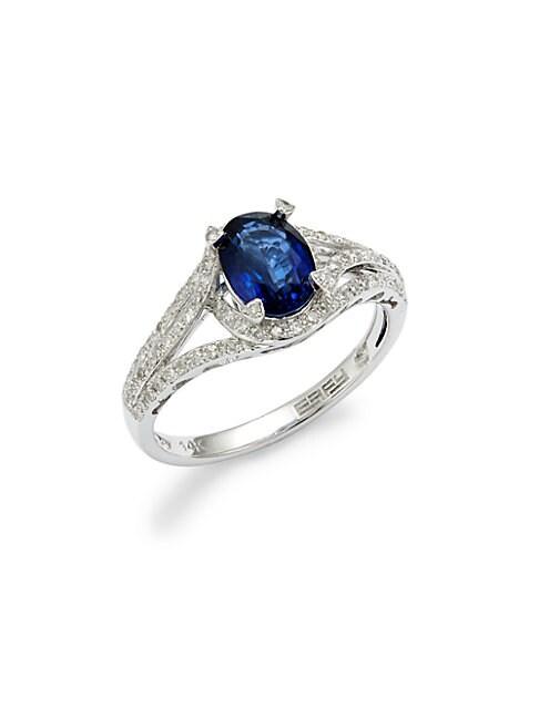 EFFY | 14K White Gold, Sapphire & Diamond Ring | Goxip