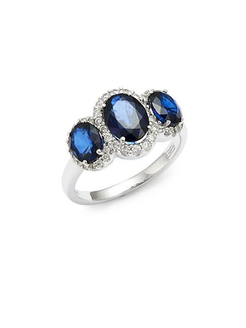 EFFY | 14K White Gold, Diamond & Sapphire Ring | Goxip