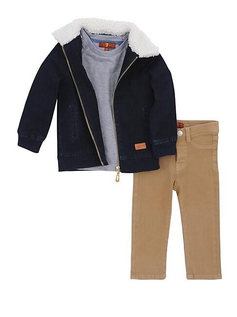 Little Boys 3Piece Faux Fur Denim Jacket Tee  Pant Set