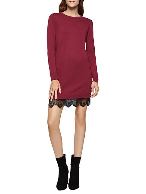 BCBGENERATION Lace-Trimmed Sweater Dress in Heather Grey