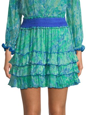 Poupette St Barth Isma Silk Ruffled Mini Skirt