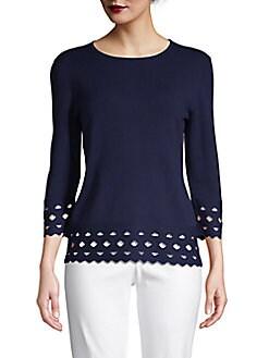 8e29e8e27386 Product image. QUICK VIEW. Saks Fifth Avenue. Cut-Out Trim Sweater