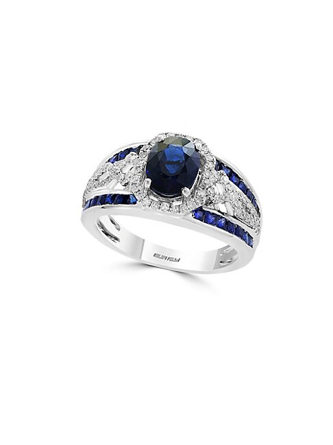 EFFY | Royale Bleu Diamond, Natural Sapphire and 14K White Gold Ring | Goxip