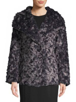 T Tahari Roslyn Reversible Faux Fur Coat