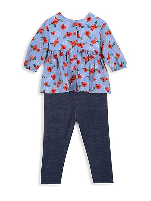 Little Girls 2Piece Floral Top  Leggings Set