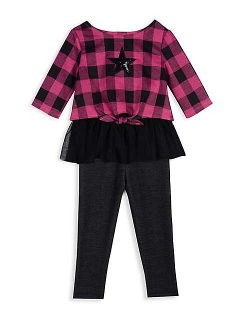 Little Girls 2Piece Plaid Top  Leggings Set