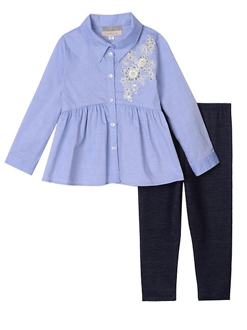 Little Girls 2Piece Chambray Top  Leggings Set