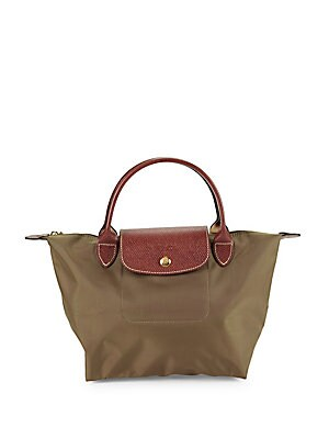 Longchamp Le Pliage Metallic Logo Top Handle Bag