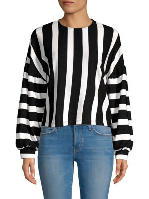 AVANTLOOK Colorblock Striped Sweater in Black White