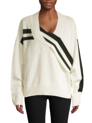 AVANTLOOK Oversized Stripe Sweater in White