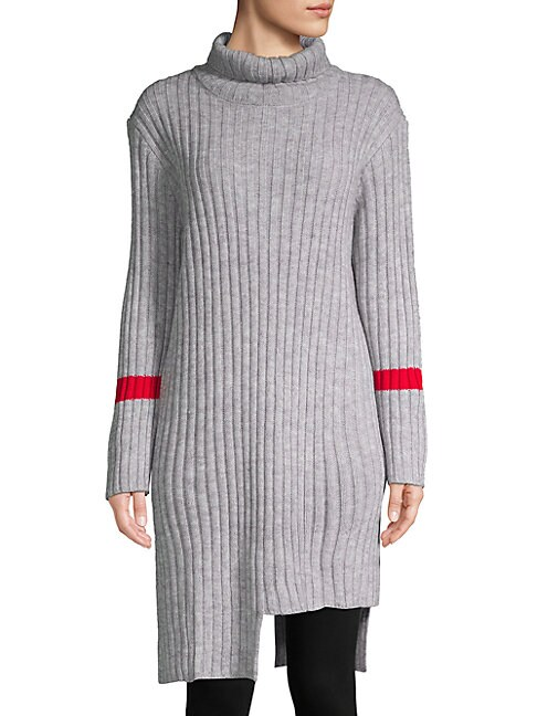 AVANTLOOK Asymmetric Turtleneck Sweater Dress in Grey