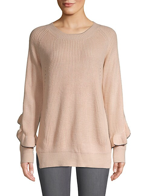 AVANTLOOK Cool Girl Ruffled Sweater in Beige