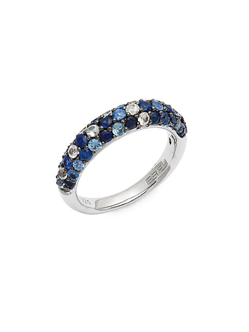 EFFY | Sterling Silver & Blue Sapphire Band Ring | Goxip