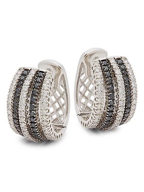Nephora 14K White Gold, Black & White Diamond Huggie Earrings