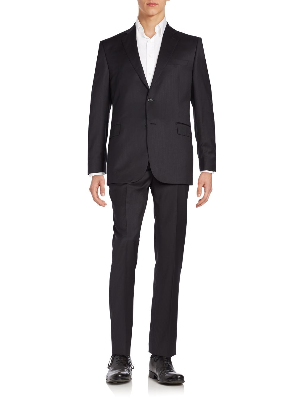 Saks Fifth Avenue Made in Italy Classic-Fit Solid Wool Suit