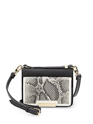 Snake-Embossed Leather Crossbody Bag