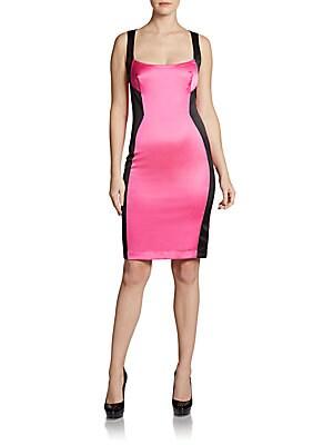 Sleeveless Colorblock Sheath Dress   Fuchsia