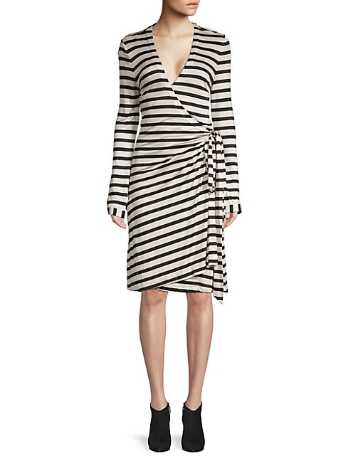 PINK TARTAN | Striped Wrap Dress | Goxip