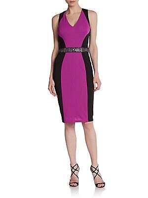 Sleeveless Colorblock Sheath Dress   Black Purple