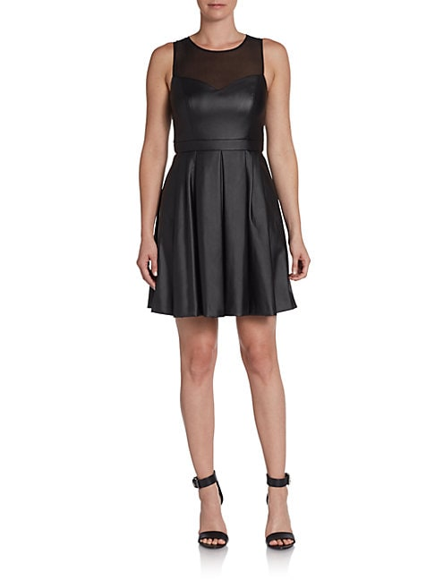 Ali Ro Faux Leather Illusion Fit-And-Flare Dress