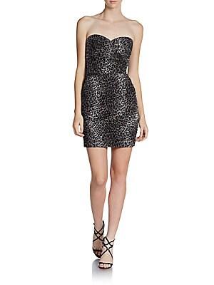 Leopard Print Sweetheart Dress   Black