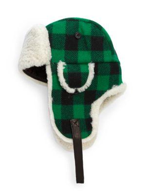 Crown Cap Franklin Wool Shearling Plaid Aviator Hat