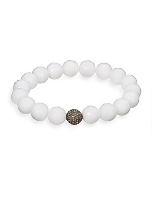 White Agate, Pave Diamond & Sterling Silver Bead Bracelet   White
