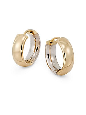 14K White & Yellow Gold Wide Hoop Earrings/.6 Inches   Gold