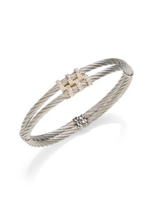 Alor  Classique Diamond & 18K Yellow Gold Double Cable Bracelet