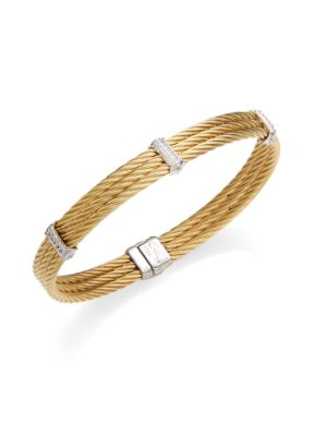 CHARRIOL 18K Yellow Gold, White Gold & Diamond Cable Bracelet in Gold Silver