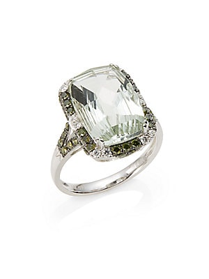 Green Amethyst, Diamond & 14K White Gold Ring