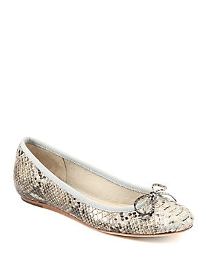 Loralei Snake-Embossed Leather Ballet Flats