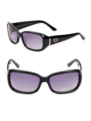 O BY OSCAR DE LA RENTA 58Mm Rectangle Sunglasses in Black