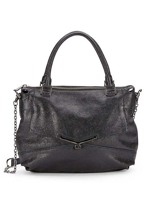 Valentina Shimmery Leather Satchel