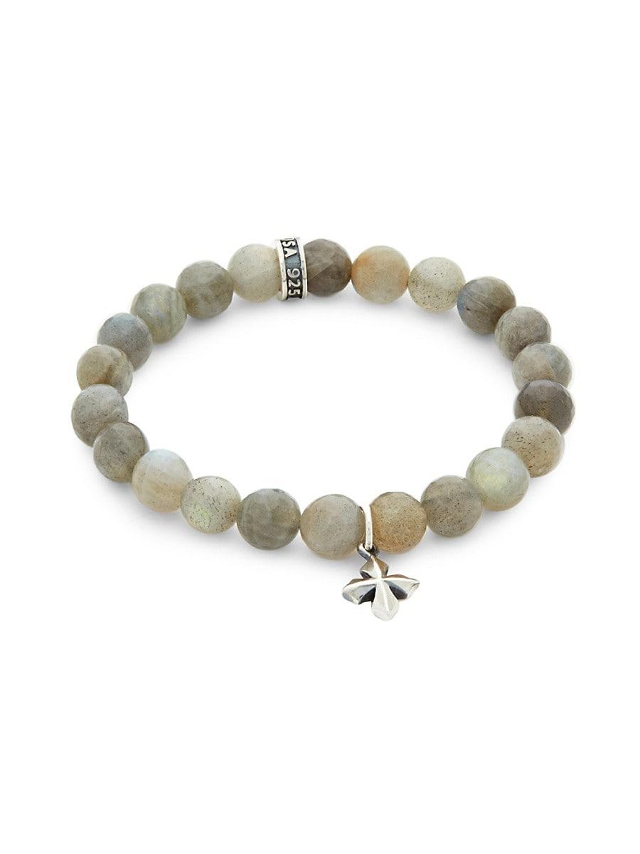 Men's Labradorite Bead Cross Bracelet