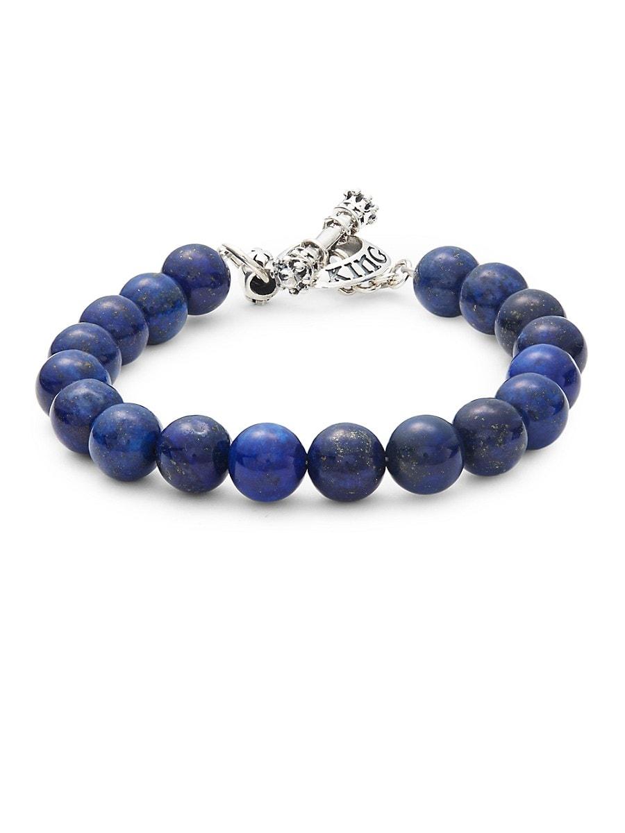 Men's Lapis & Stainless Steel Toggle Bracelet